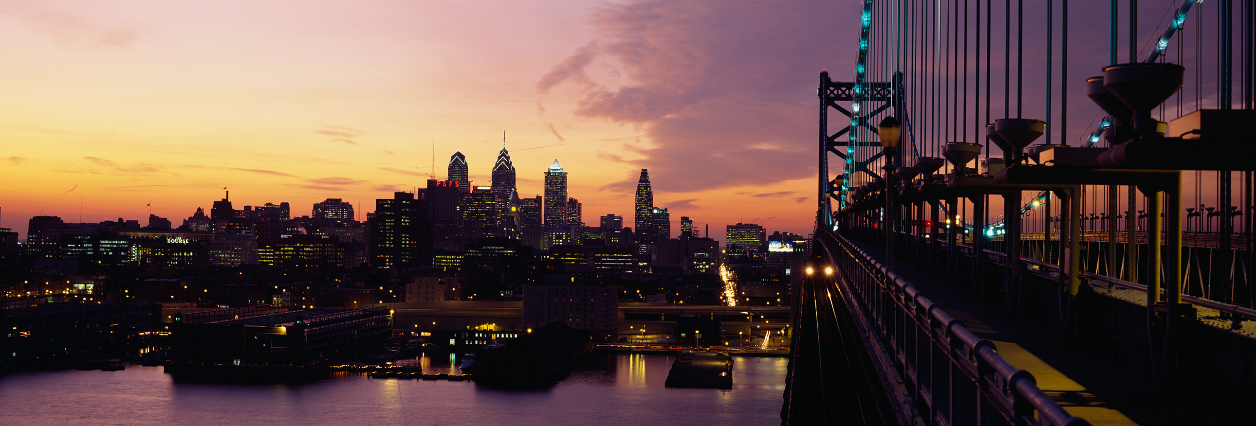 View of Philadelphia skyline at sunset