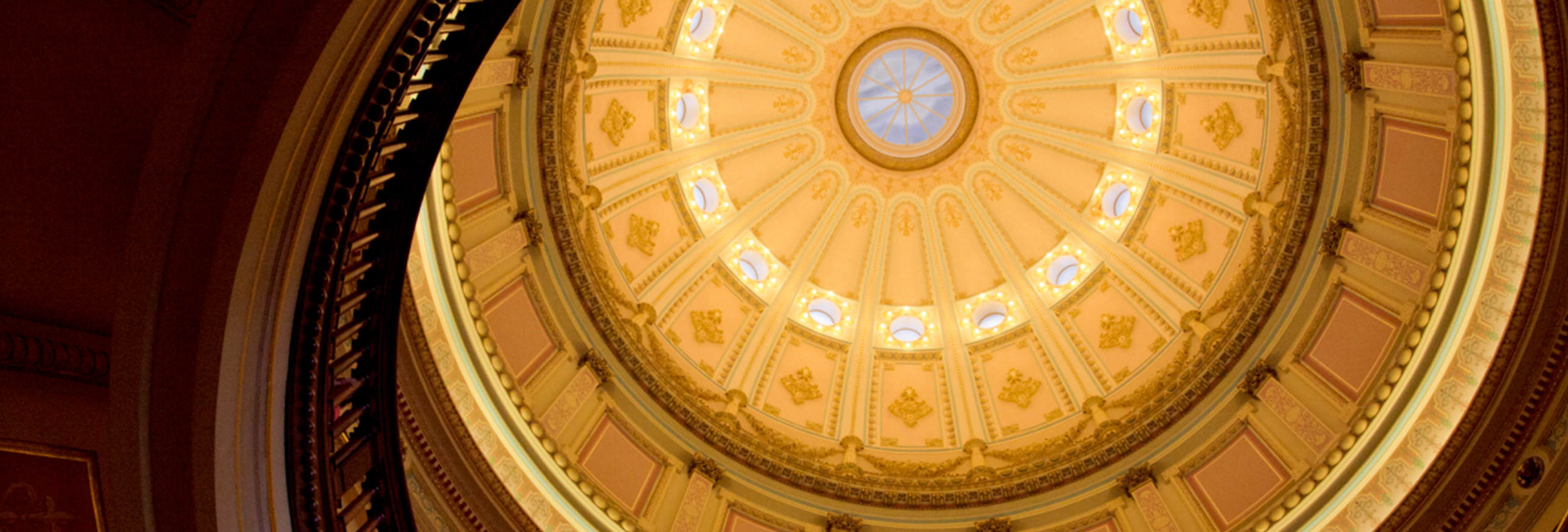 view looking up to rotunda of California capital building in Sacramento