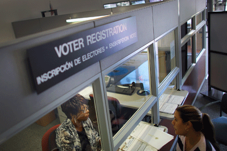 A person registers to vote.
