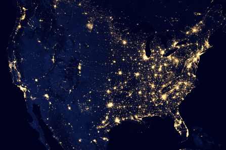 This composite image made available by NASA and assembled by data acquired from the Suomi NPP satellite in 2012 shows the U.S's lights at night.
