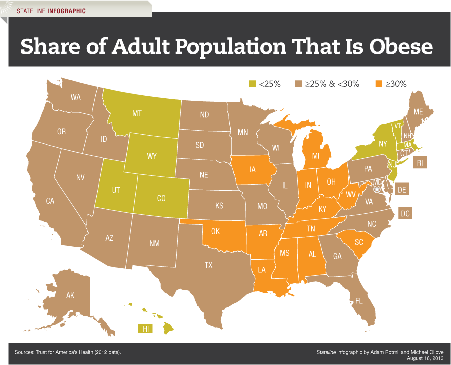 Share of Adult Population That Is Obese - Map