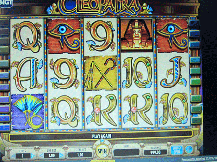 A computer screen displays the results of a losing game of slots in Atlantic City.
