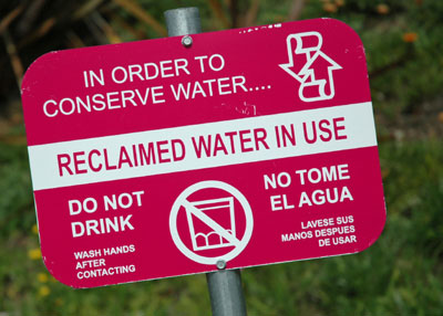 reclaimed water sign