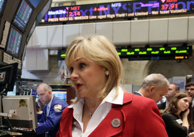 Oklahoma Governor Mary Fallin at the New York Stock Exchange floor in August 2011