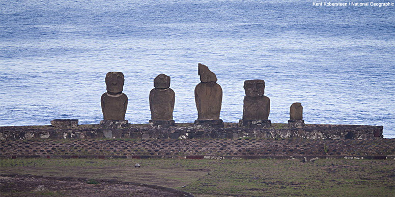 Maoi statues and at Tahai, Easter Island.