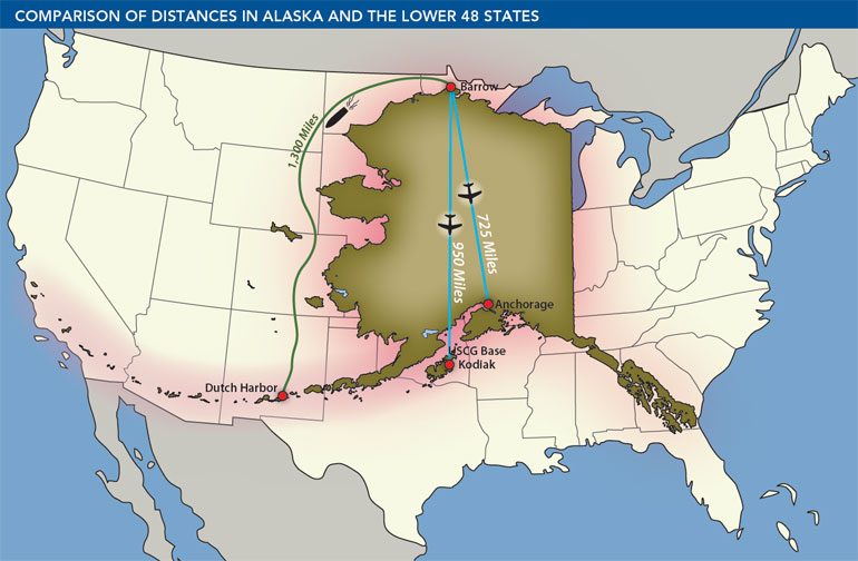 Map: Comparison of Distances in Alaska and the Lower 48 States