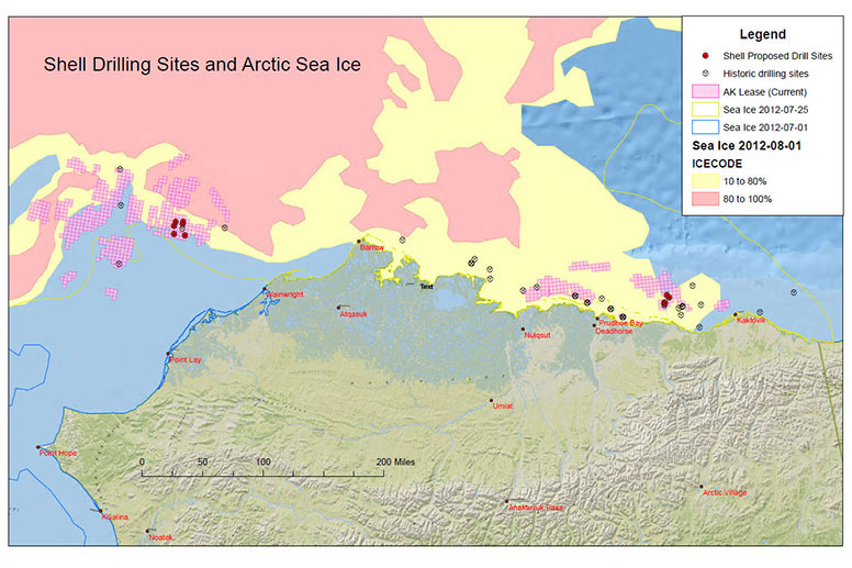 Shell Drilling Sites and Arctic Sea Ice