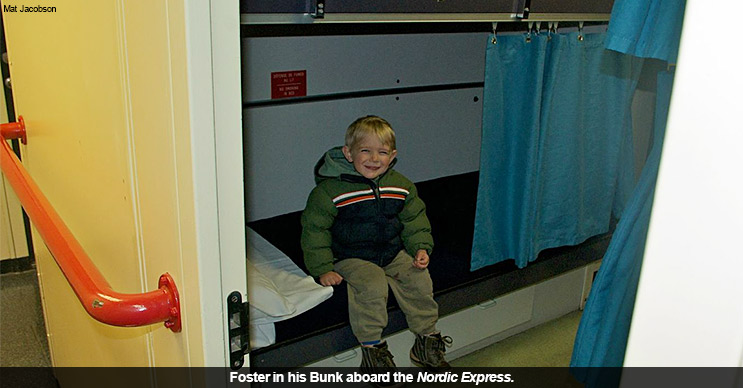 Foster in his Bunk aboard the Nordic Express.