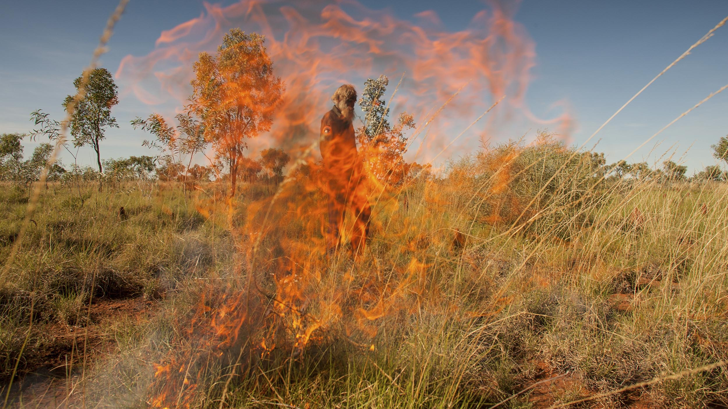 Indigenous Ranger Benny Jabbalari conducts a controlled burn in spinifex country in the Northern Territory's Tanami Desert. The Tanami comes under two Indigenous Protected Areas, with rangers working to manage threats such as wildfires, weeds and feral animals.
