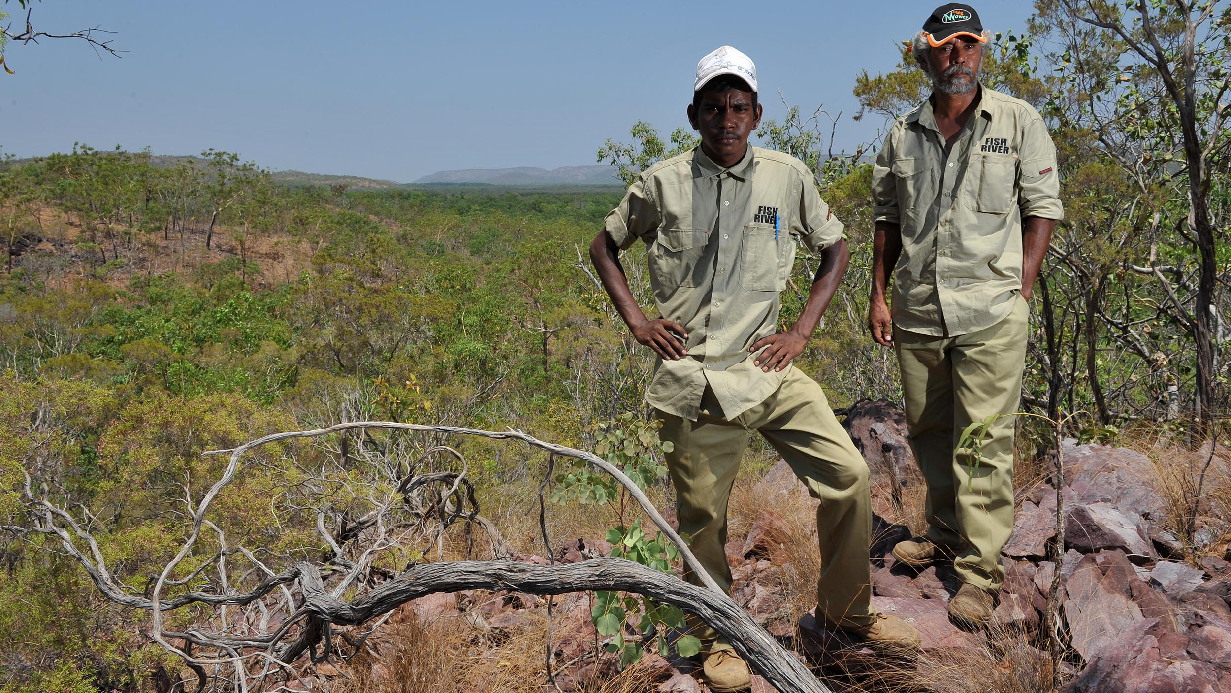 Fish River Rangers Desmond Daly, left, and Jeff Long help manage the 178,000-hectare Fish River Station in the Northern Territory for conservation and cultural heritage. The former cattle property was purchased through a ground-breaking partnership between the Indigenous Land Corporation, The Nature Conservancy, The Pew Charitable Trusts and the Australian Government.