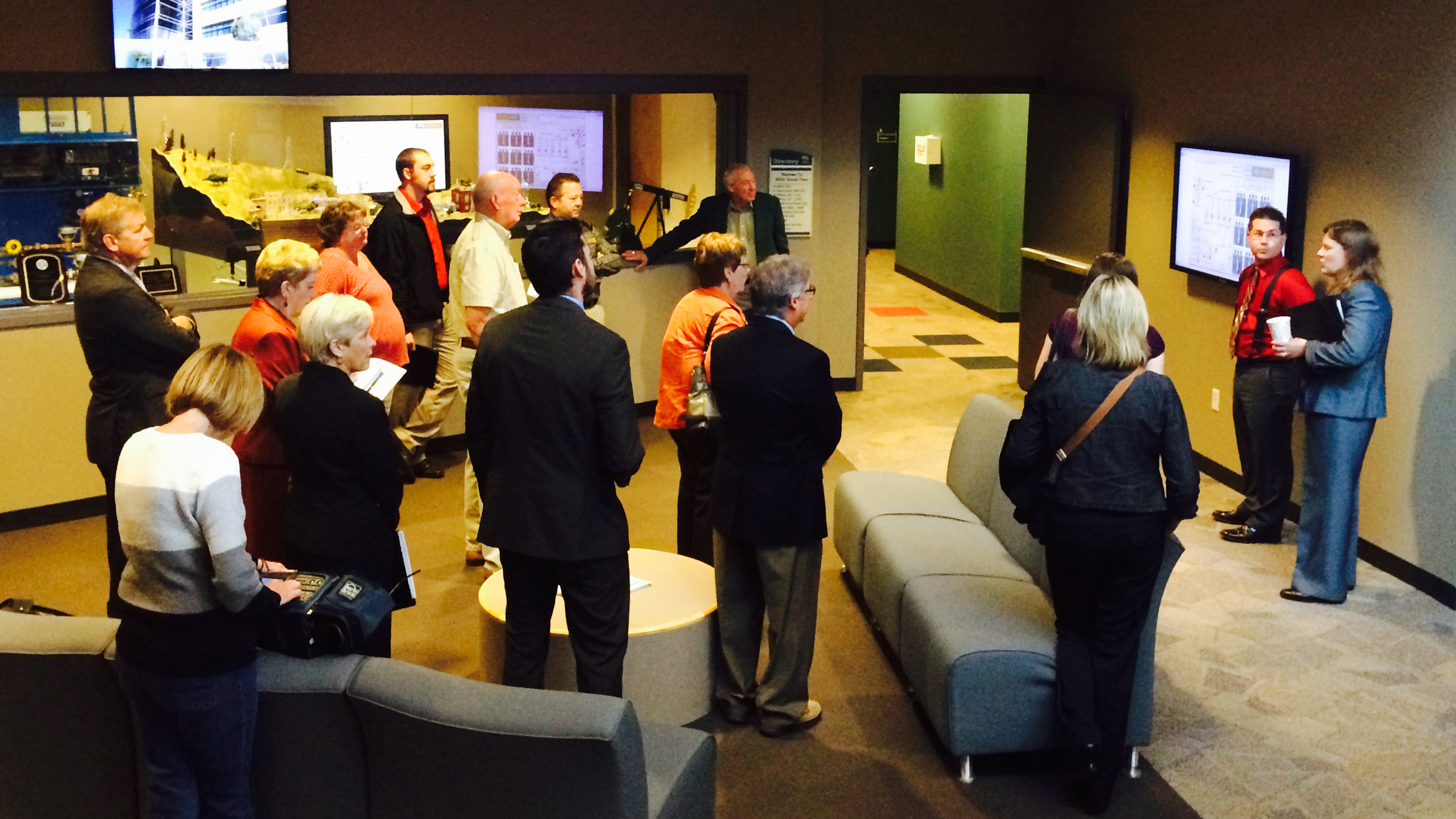 CEBN members and guests tour Bismarck State College's renewable energy training labs.