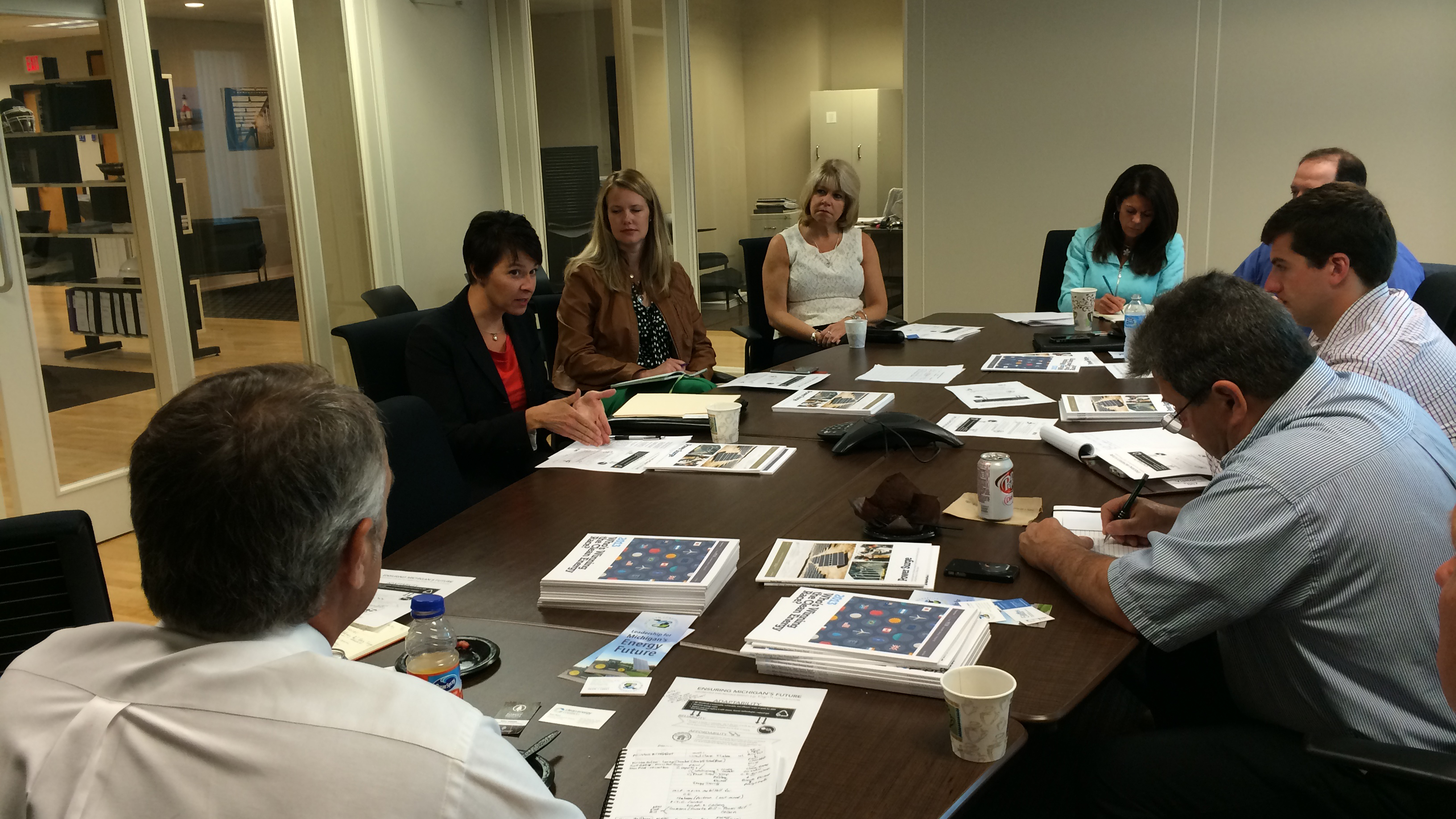 CEBN members meet with Michigan Public Service Commissioner Sally Talberg to learn about clean energy policy developments in the state (June 23, 2014).