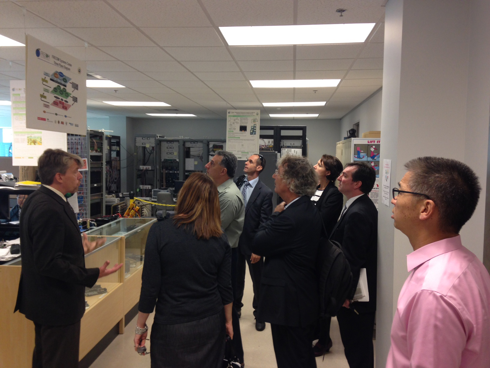 CEBN members and guests tour North Carolina State University's FREEDM Systems Center—a smart grid research hub—following a discussion of Pew's Clean Economy Rising research (Oct. 9, 2014).