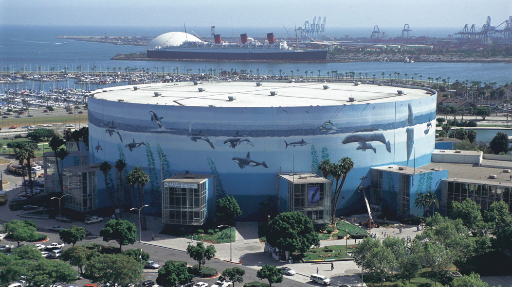 """Planet Ocean"" wraps around the Long Beach Convention Center in California, one of the most visible murals created by the marine life artist Wyland."