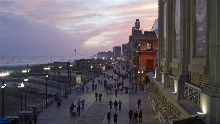 Bird's eye view of Atlantic City's boardwalk
