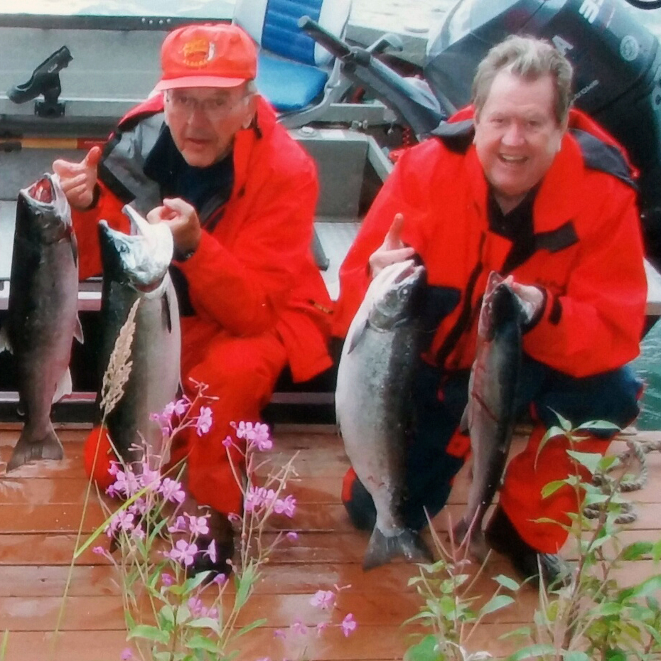 Bill Hogarth (right), former head of the National Oceanic and Atmospheric Administration's Fisheries Service,  shows off his catch after a 2007 fishing trip in Alaska with then-Senator Ted Stevens. The work of Stevens, who died in 2010, strengthened conservation provisions of the federal fishery law, which is named for him: the Magnuson-Stevens Fishery Conservation and Management Act.