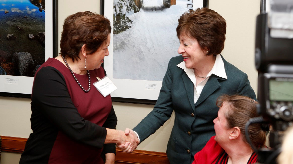 Health teacher Eliza Adams (left) and food service manager Melanie Legasse (right) from Maine shared their stories with Senator Susan Collins (R-ME). Sen. Collins introduced the School Food Modernization Act, which would provide resources for schools to improve kitchen equipment, infrastructure, and personnel training.
