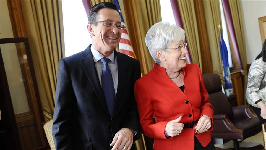 Connecticut Gov. Dannel P. Malloy, left, and Lt. Gov. Nancy Wyman