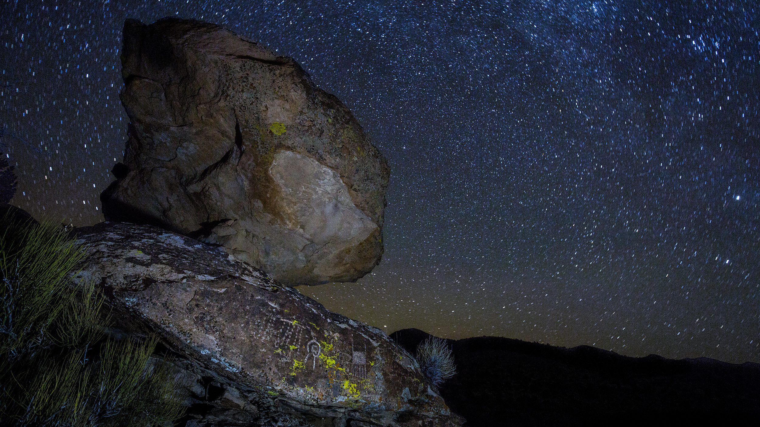 Starlight illuminates petroglyphs in the Mount Irish Archaeological District.