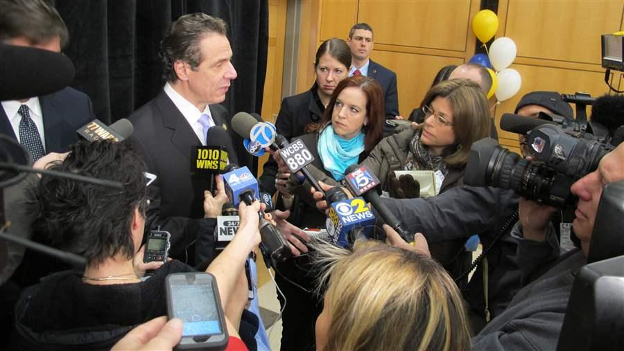 Democratic Gov. Andrew Cuomo of New York speaks to reporters about his proposal to offer a $1.7 billion property tax credit for homeowners and renters. His was among proposals in several states this year to provide tax relief for property taxpayers. (AP)