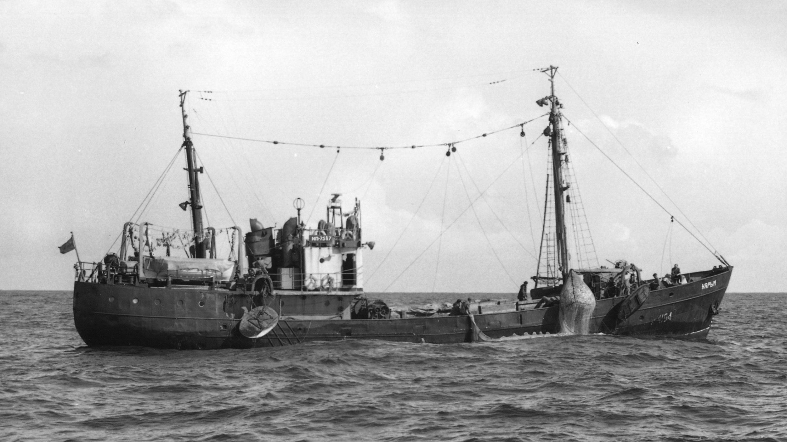 A Russian SRT boat off Washington state coast in 1966 hauling in a catch of hake.