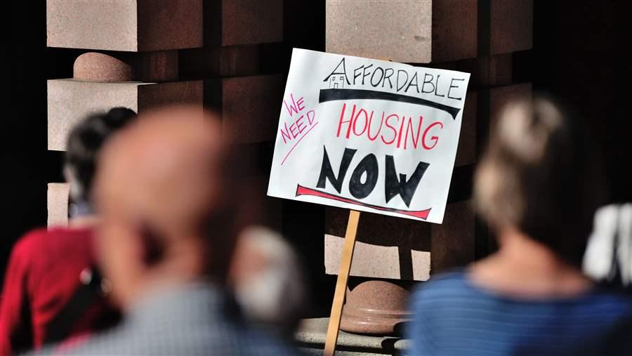 A group rallies for affordable housing