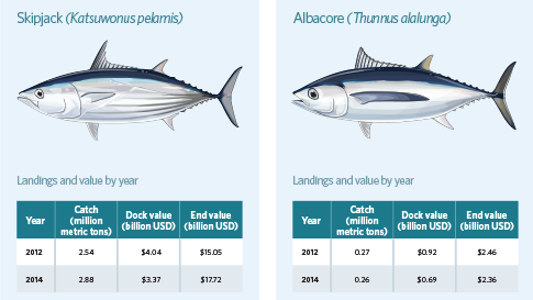 Global Tuna Landings and Values by Species