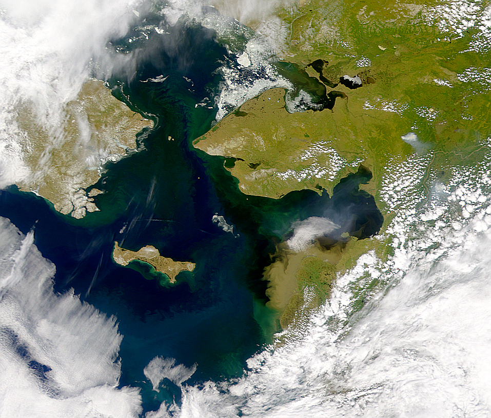 The international waters of the Bering Strait between Russia and the United States.