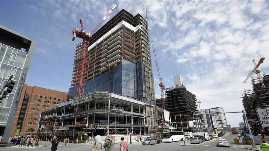 A high-rise under construction in Boston