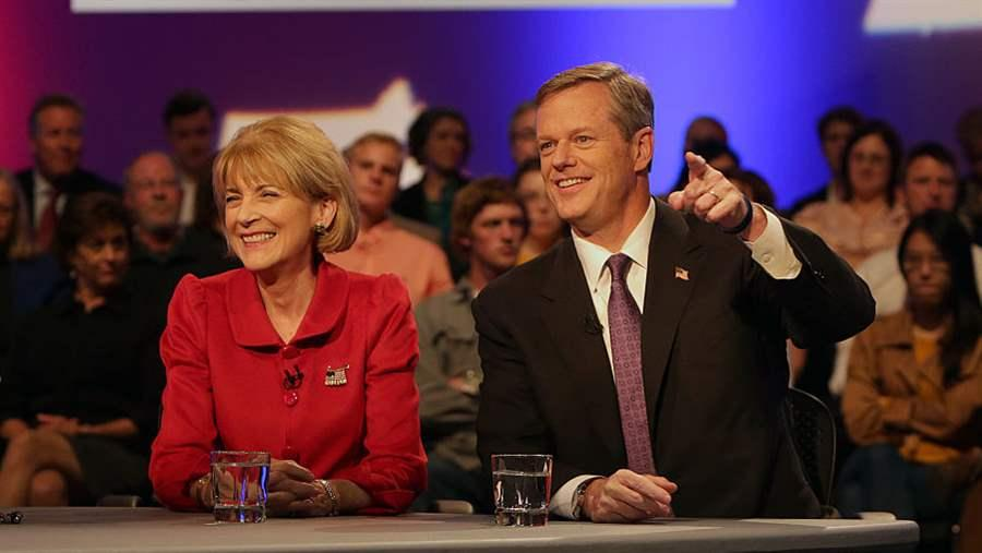 Democrat Martha Coakley and Republican Charlie Baker
