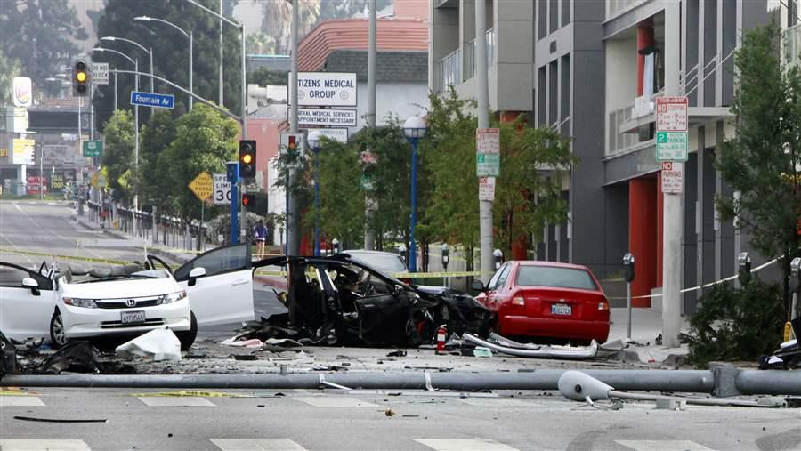 A car crash in West Hollywood, California