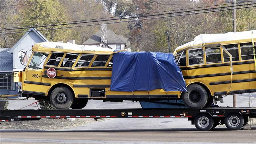 A School Bus Is Carried Away From Crash Site In November Chattanooga Tennessee Six Elementary Students Died And 31 Were Injured