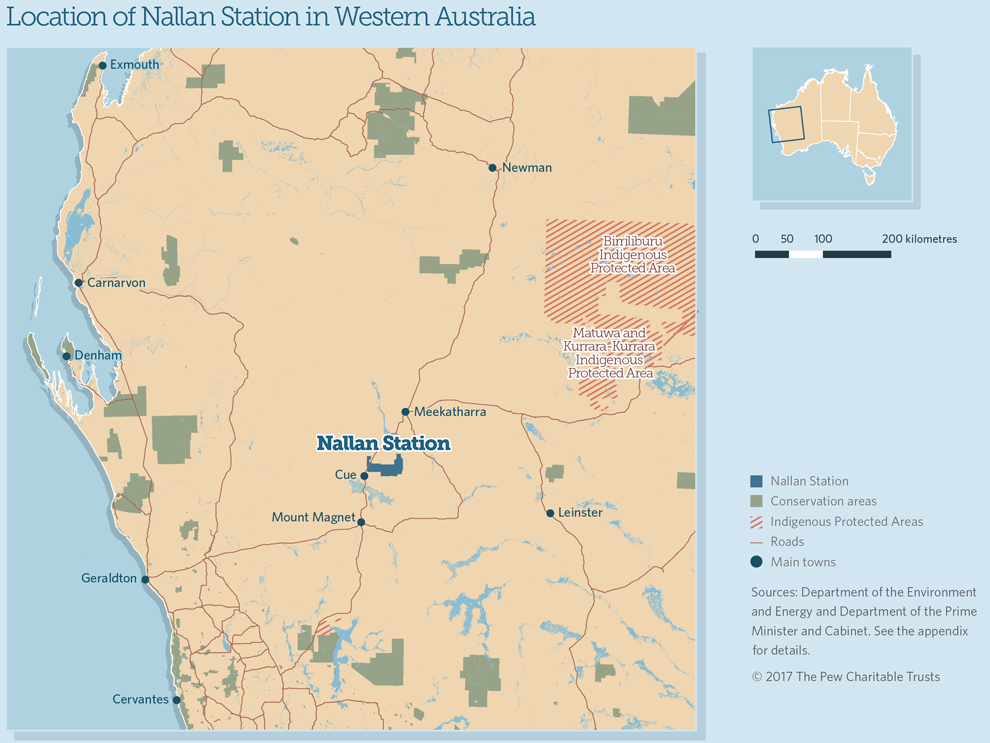 Map of Nallan Station location in Western Australita