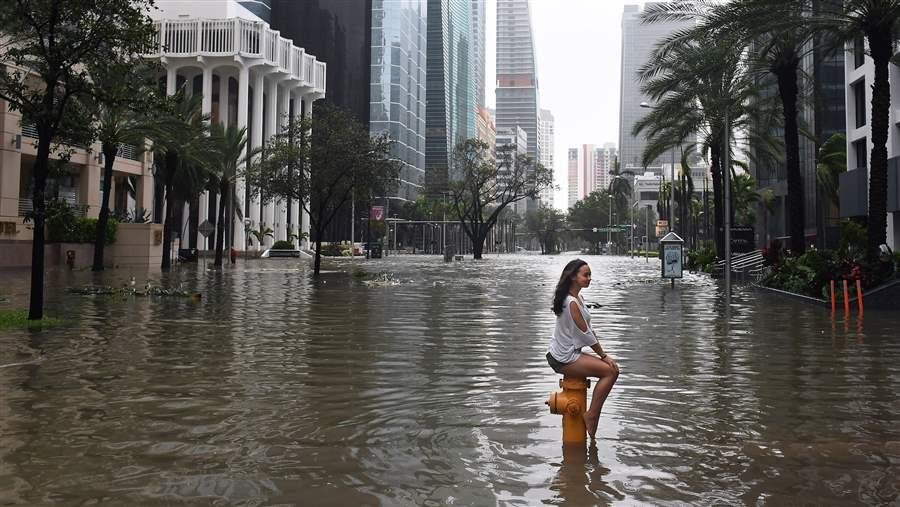Girl in floodwater