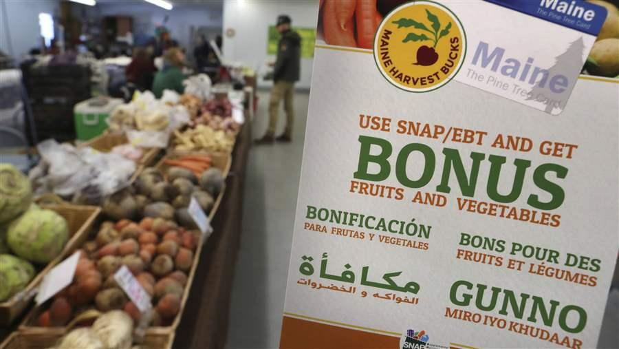A Sign Advertises Program That Allows Food Stamp Recipients To Use Their Electronic Benefit Transfer Cards Shop At Farmers Market In Topsham Maine