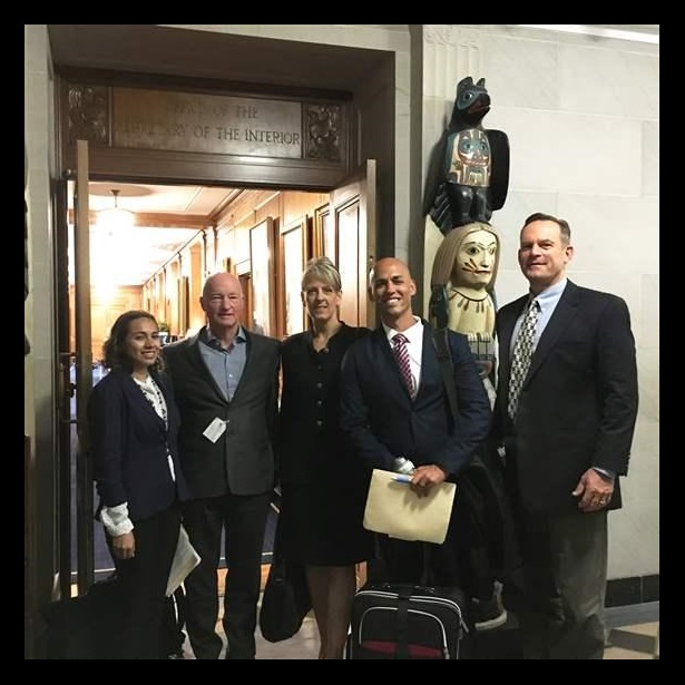 Concrete Preservation Institute members (Maria Valdez, Peter Emmons, Tanya Komas, Ryan White, Chris Plue) pose at the Department of the Interior, in front of Secretary of the Interior, Ryan Zinke's office.