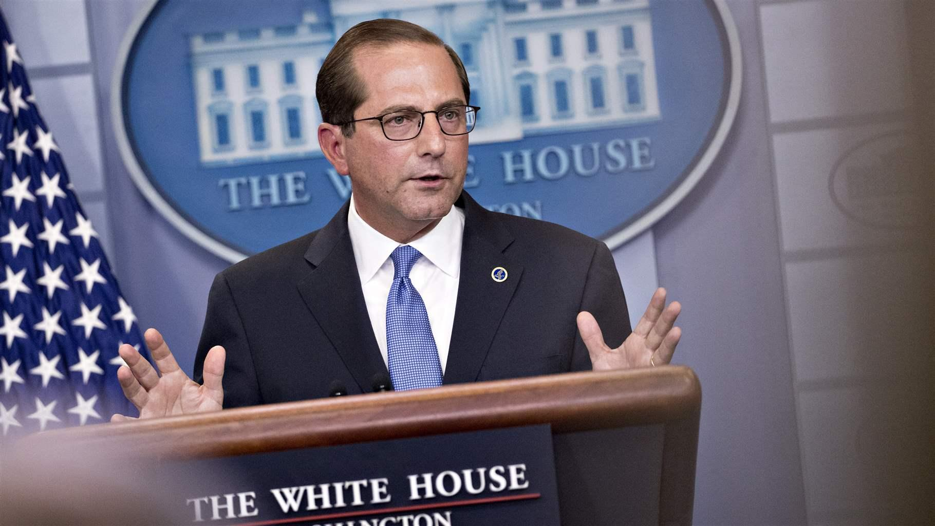 The latest on drug spending trump administration releases drug alex azar secretary of health and human services speaks to reporters after a white house event on may 11 about drug prices malvernweather Gallery