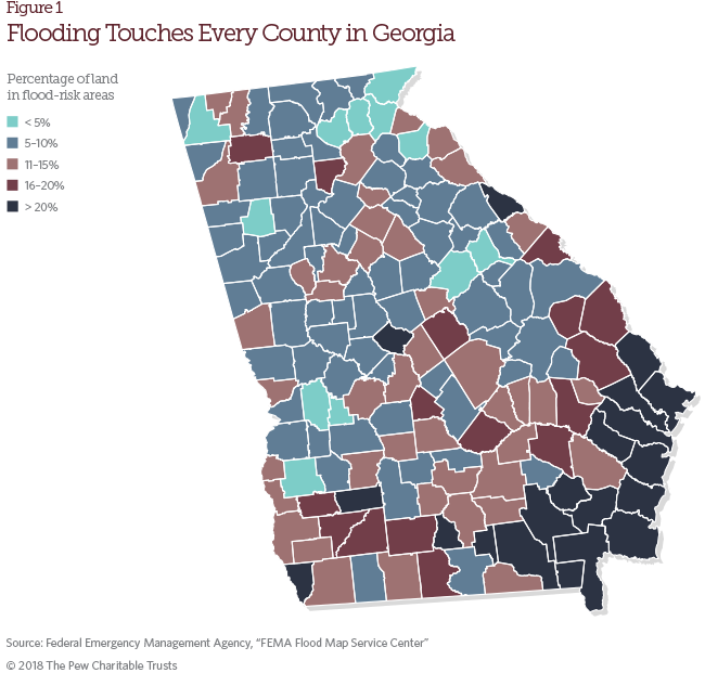 Georgia Flood Map Georgia: Flood Risk and Mitigation | The Pew Charitable Trusts