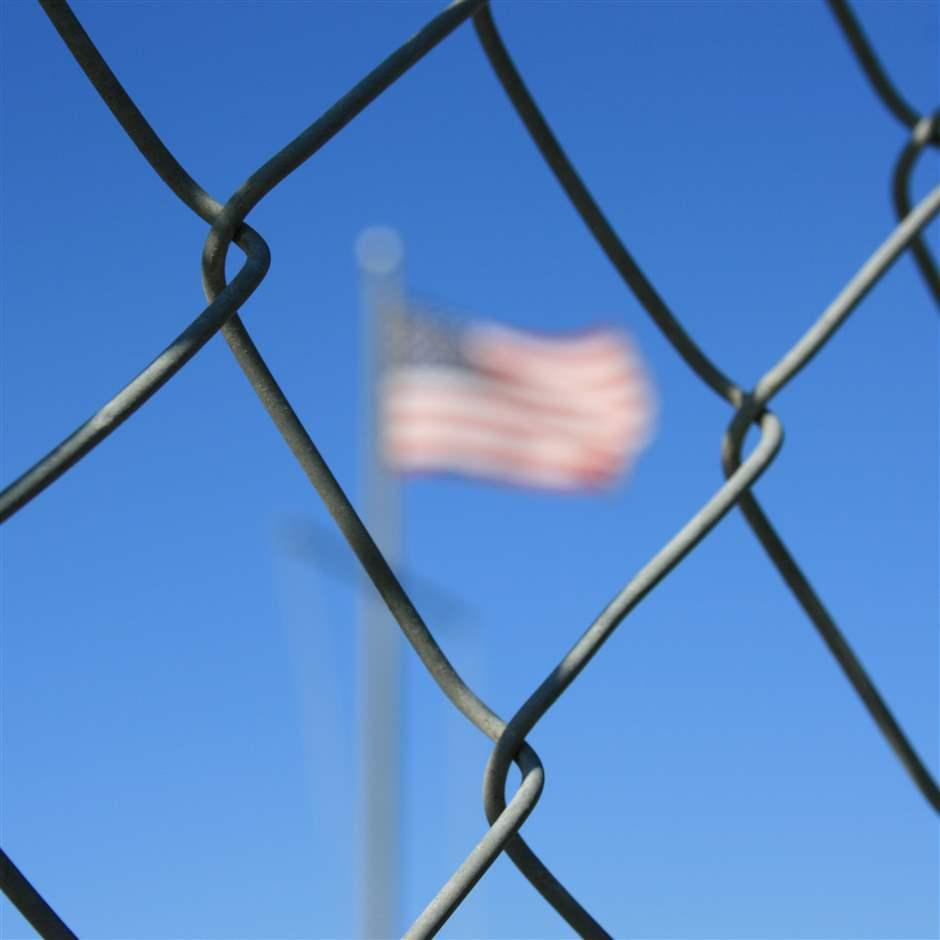 Fence and flag