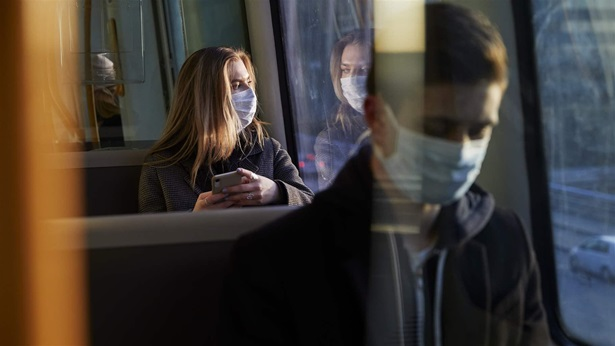 Facemasks on bus