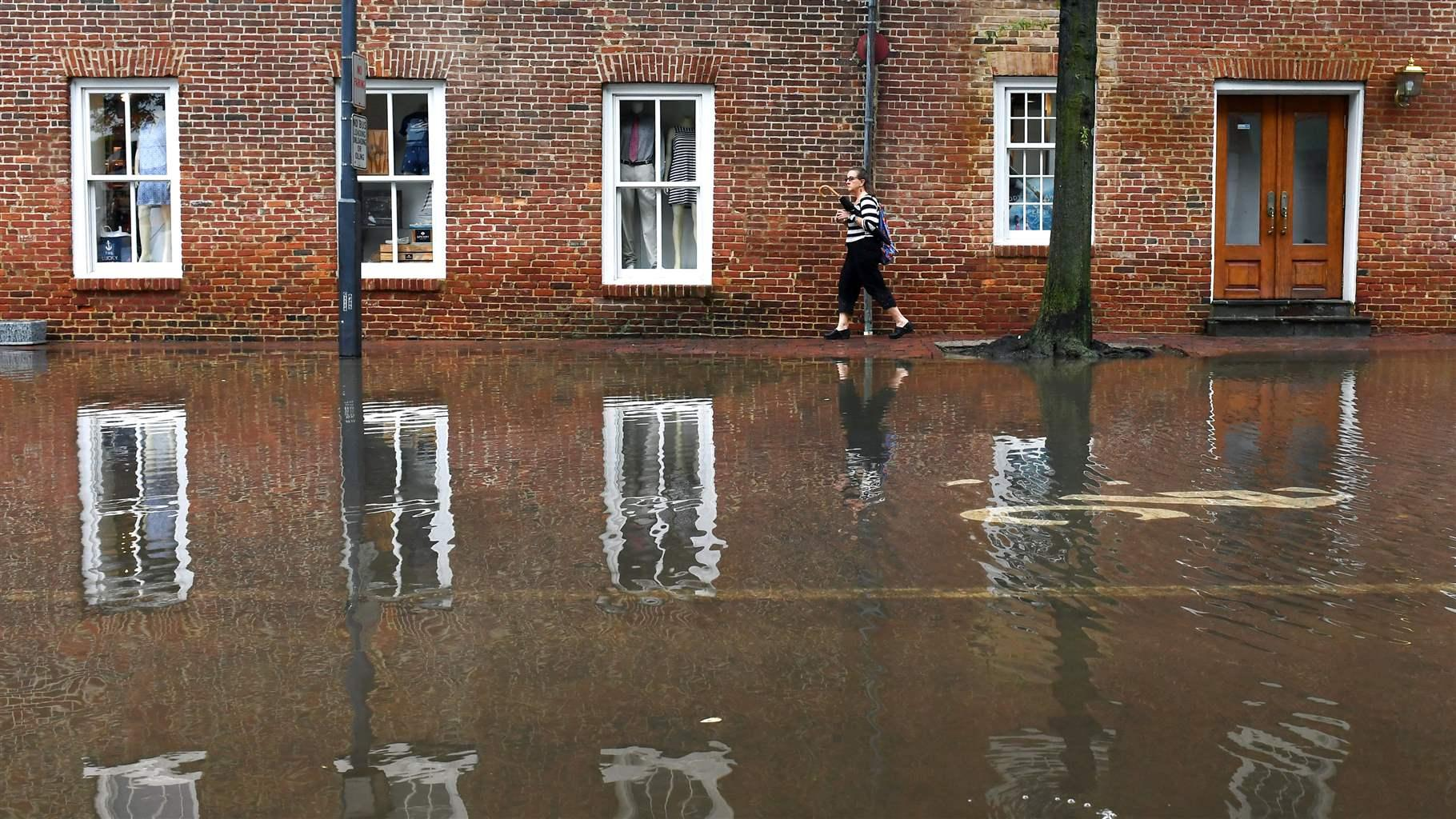 Woman walking in floodwater