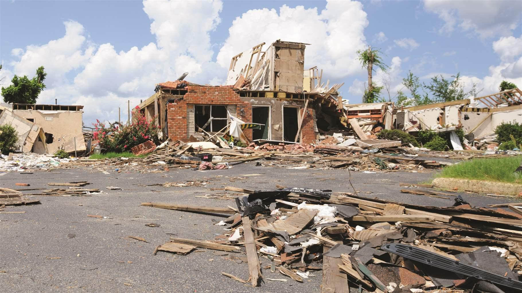 Building damage from tornado