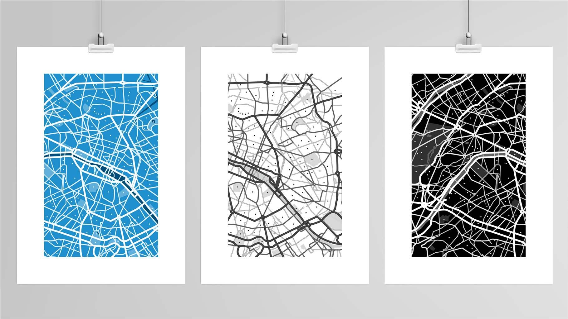 city map illustrations in blue, black and white