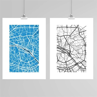Street map art, three prints in blue, white and black