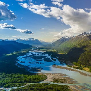 Aerial view of the Chilkat River, near Haines, Alaska USA.