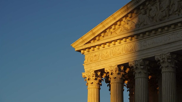 The front facade of the Supreme Court of the United States in Washington, DC.