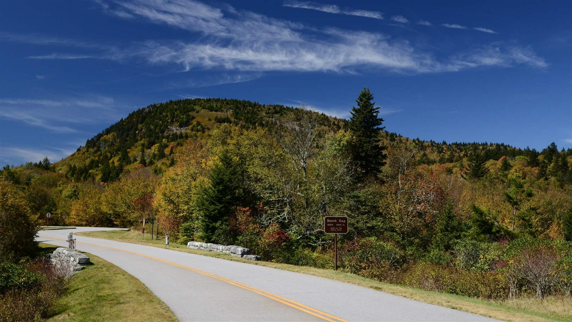 At Milepost 423.3 in North Carolina, the Blue Ridge Parkway passes through Beech Gap at an elevation of 5,340 ft.