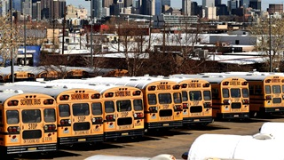School buses line and parked at DPS- Hilltop Terminal in Denver, Colorado on Tuesday. November 10, 2020.