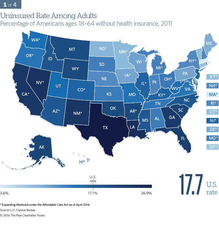 Uninsured Rate Among Adults - Percentage of Americans ages 18–64 without health insurance, 2011