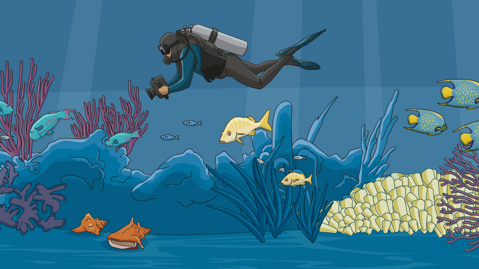 Illustrated scuba diver